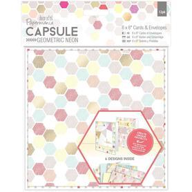 Zestaw 12 kart + koperty Geometric Neon 15,2x15,2cm