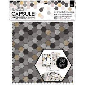 Zestaw 12 kart + koperty Geometric Mono 15,2x15,2cm