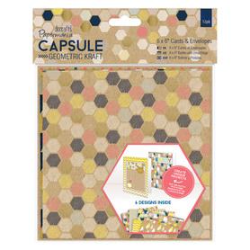 Zestaw 12 kart + koperty Geometric Kraft 15,2x15,2cm