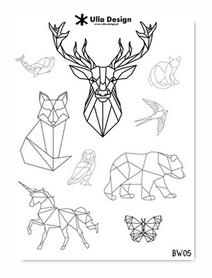 BW05 Zestaw naklejek A5 Geometryczne zwierzęta