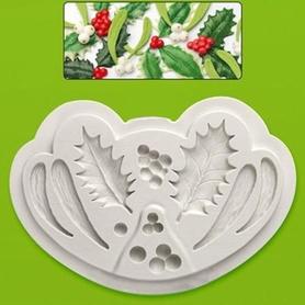 Foremka silikonowa Gałązki i owoce Ostrokrzewu