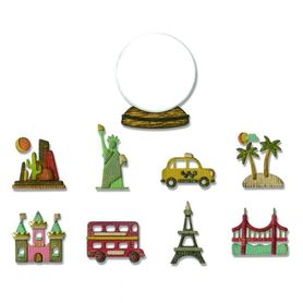 Wykrojnik Sizzix Thinlits Tiny Travel Globe 10el.