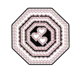 Wykrojnik Trzy ramki ośmiokąty + serduszka (0009)