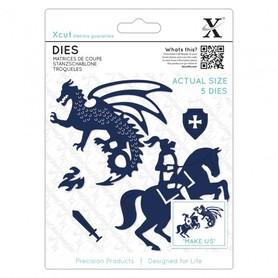 Wykrojnik - X-cut - Knight & Dragon 5 el.
