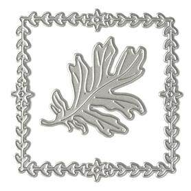 Wykrojnik Ramka roślinna kwadratowa + listek