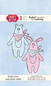 CW066 Wykrojnik - Teddy bear and plush rabbit - Miś i królik