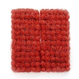 Róże piankowe z tiulem 2cm - 144 sztuk - czerwone