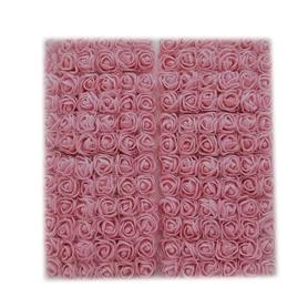 Róże piankowe z tiulem 2cm - 144 sztuk - j.różowy