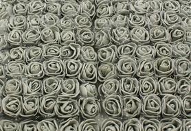 Róże piankowe z tiulem 2cm - 144 sztuk - szare