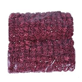 Róże piankowe z tiulem 2cm - 144 sztuk - bordowe