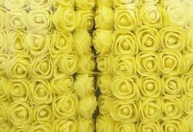 Róże piankowe z tiulem 2cm - 144 sztuk - żółte