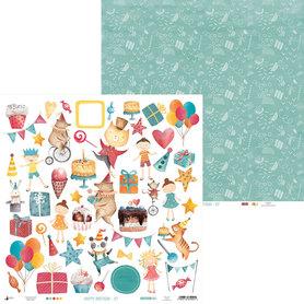 P13-414 Arkusz papieru Happy Birthday 07 - 30x30cm