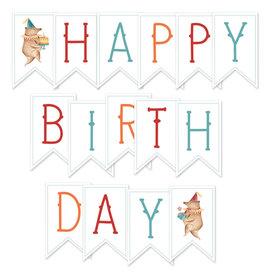 P13-429 Papierowy baner  Happy Birthday, 15 el.