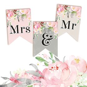 P13-264 Papierowy baner Mrs & Mr