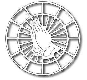 Wykrojnik Ramka okrągła Ręce w modlitwie (C2-H2891)