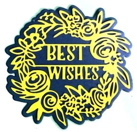 Wykrojnik Ramka Wianek z kwiatami + napis (1885-W3)