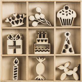 Ozdoby drewniane Urodziny 45 szt. (036)