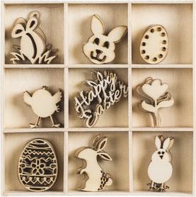 Ozdoby drewniane Wielkanoc 45 szt. (035)