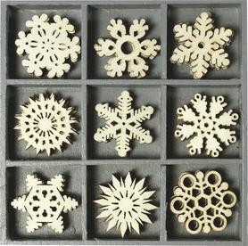 Ozdoby drewniane Śnieżynki 45 szt. (023)