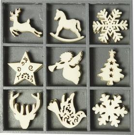 Ozdoby drewniane Święta 45 szt. (027)