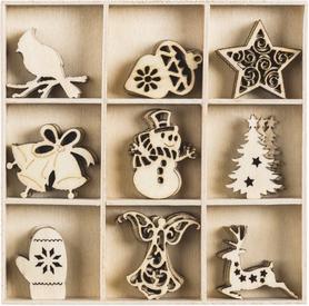 Ozdoby drewniane Święta 2, 45 szt. (041)