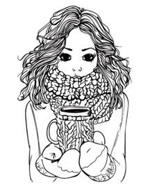 Stempel zimowy - Dziewczyna z kubkiem ST15719/1