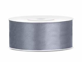 Tasiemka wstążka satynowa 25 mm/25 m szary