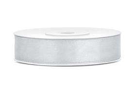 Tasiemka wstążka satynowa 12 mm/25 m srebrna
