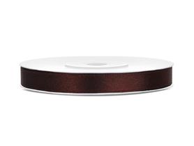 Tasiemka wstążka satynowa 6 mm/25 m brązowa
