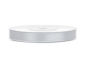 Tasiemka wstążka satynowa 6 mm/25 m srebrna (018)