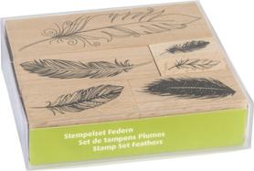 Zestaw stempli drewnianych 6 szt, Pióra (85)