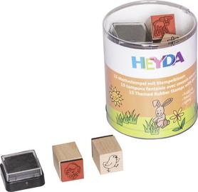 Zestaw stempli w pudełku Wiosna 15 szt + tusz (84)