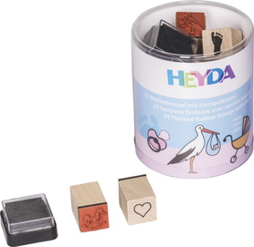 Zestaw stempli w pudełku Baby 15 szt + tusz (85)