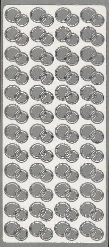 Naklejka ozdobna OBRĄCZKI OKRĄGŁE srebrne  1773S