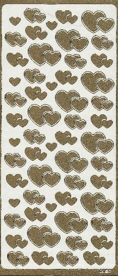 Naklejka ozdobna serca 0059 złota
