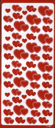 Naklejka ozdobna serca 0059 czerwona