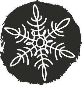 Stempel drewniany okrągły, Śnieżynka 2 (27)