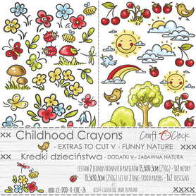 CHILDHOOD CRAYONS - V - zestaw dodatków 15x30cm