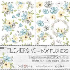 KWIATKI - VI - zestaw dodatków BOY FLOWERS 15x30cm