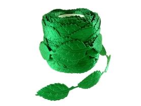 Wstążka Liście Zielone 2x4cm - 1m