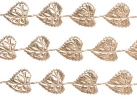 Wstążka Liście złote 3x4cm - 1m