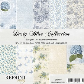 Zestaw 10 papierów 30x30 Reprint Dusty Blue