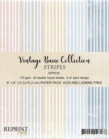 Zestaw 20 papierów 15x15 Reprint Stripes Basic 016