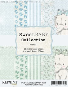 Zestaw 20 papierów 15x15 Reprint Sweet Baby Blue