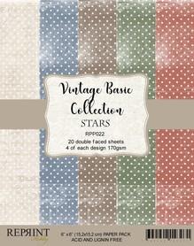 Zestaw 20 papierów 15x15 Reprint Basic Stars