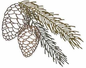 Wykrojnik 664228 Sizzix - Pine Branch szyszka