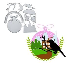 Wykrojnik Zestaw zimowy Bombka Góry Ptak (459-M2)
