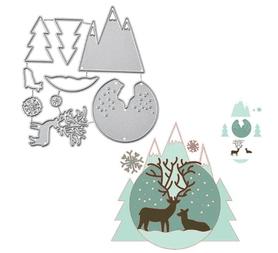 Wykrojnik Zestaw zimowy Góry Renifer (454-M2)