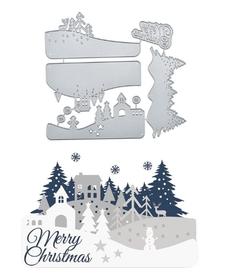 Wykrojnik Zestaw zimowy Krajobraz + napis (363-M2)