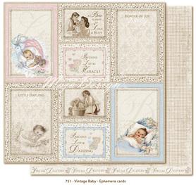 Arkusz 30x30 cm Vintage Baby - Ephemera cards